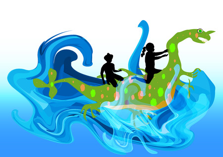 Water monster carrying children on the spine. Cute water dragon with boy and girl in the waves