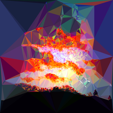Abstract background of polygons resembling landscape with dramatic sky at sunset.Red, dark blue, orange and yellow background with silhouettes of black landscape Иллюстрация