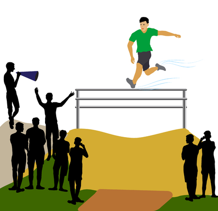 Athlete jumping over an obstacle. Racetrack with athlete and silhouettes of fans Illustration