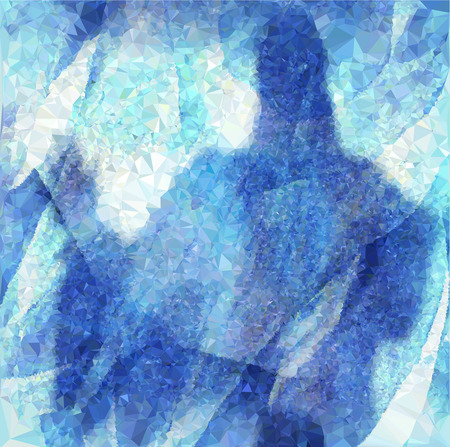 Winter background of crystals and polygons with silhouette of a mysterious person behind the ice wall. White and blue background of ice crystals and dark blue silhouette