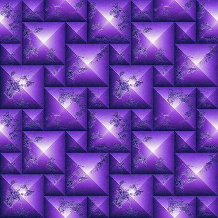 シームレスな救済風化ピラミッド形状の 3 d のモザイク パターン。紫と白のキューブの石の背景に傷。レンダリング 3