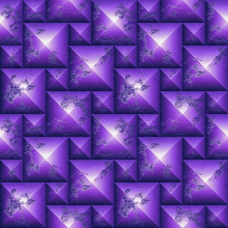 Seamless relief 3d mosaic pattern of weathered pyramidal shapes. Purple and white scratched stone background of cubes. 3 rendering Reklamní fotografie