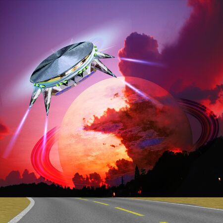 Unidentified flying object landing on the road. Satellite over a dawn planet landscape. Unknown red planet with ring approaching the Earth. 3d illustration