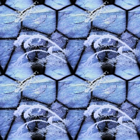 Winter seamless mosaic pattern of cracked stones and frozen plants. Blue and white seamless background of twigs and grass covered with snow. 3d rendering Фото со стока