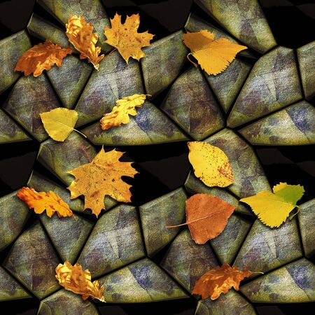 Autumn seamless relief stone pattern with colorful leaves. Yellow, orange and red leaves on a background of polygonal stones. 3d rendering