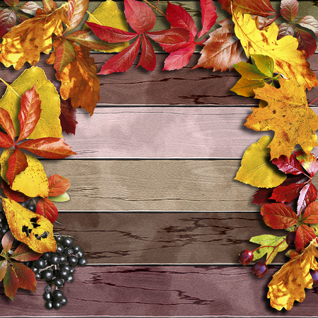 Vintage wooden board with autumn colorful leaves and berries. Brown, orange, red and yellow background with black and red berries and leaves. 3d illustration