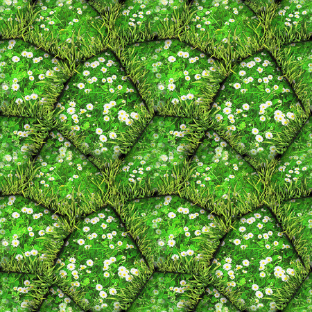 Natural seamless pattern of green stones with daisies and grass. Green and white relief pattern with spring flowers, clover and tufts of grass. 3d rendering