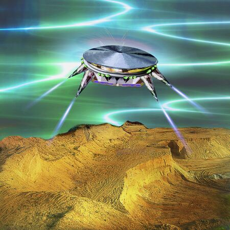 Unidentified flying object landing in the desert. Unknown object flying over sand dunes. 3d illustration Stock Photo