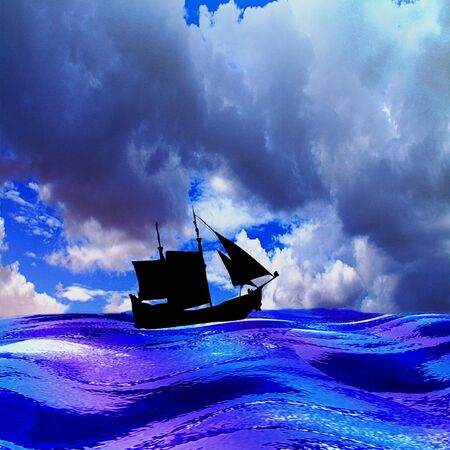 alone in the dark: Landscape with sea, silhouette of sailboat and dramatic sky with storm clouds. Blue, white and purple waves, old ship and dramatic sky. Alone ship with sails on the turbulent sea. 3d illustration