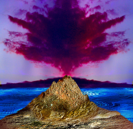 Lava island with volcano, sea and red smoke. Landscape with a volcano erupting. 3d illustration
