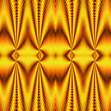 Abstract seamless wavy background resembling gold drapery. Red and gold seamless pattern with intertwined glittering shapes creating an illusion of movement. 3d rendering
