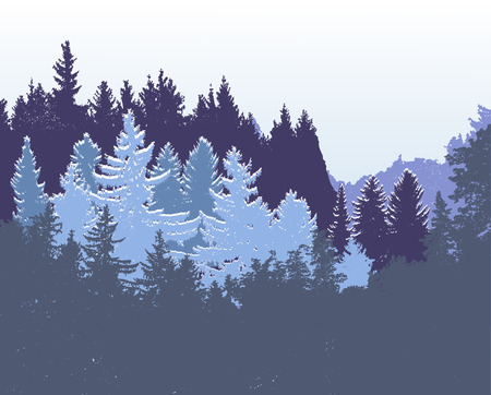 Winter panoramic forest landscape.