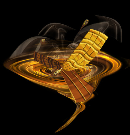 Chocolate whirlpool with swirling chocolate bars and smoke. Hot chocolate drink with drops and dissolving pieces of chocolate. 3d illustration