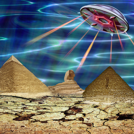 Unidentified flying object landing in a cracked landscape. Unknown object flying over pyramids and sphinx. 3d illustration Фото со стока