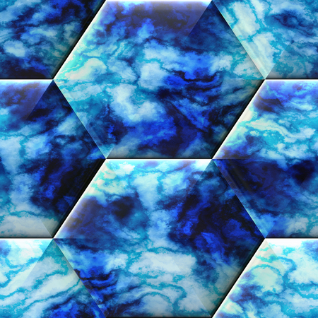 Seamless hexagonal relief background with marble texture. Blue and white veined 3d pattern of hexagons
