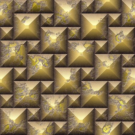 風化した立方体のシームレスなレリーフ3Dモザイクパターン。金と黄色は、ベベルキューブの石の背景を傷つけた。3 レンダリング