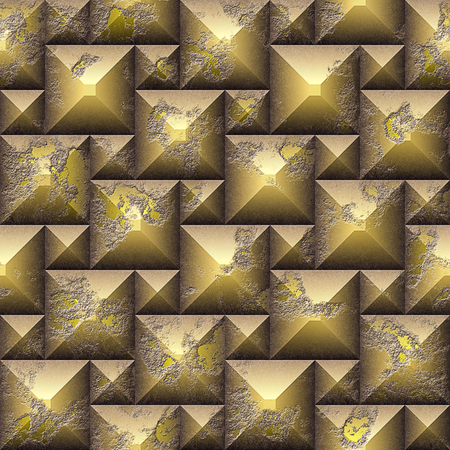 Seamless relief 3d mosaic pattern of weathered cubes. Gold and yellow scratched stone background of beveled cubes. 3 rendering