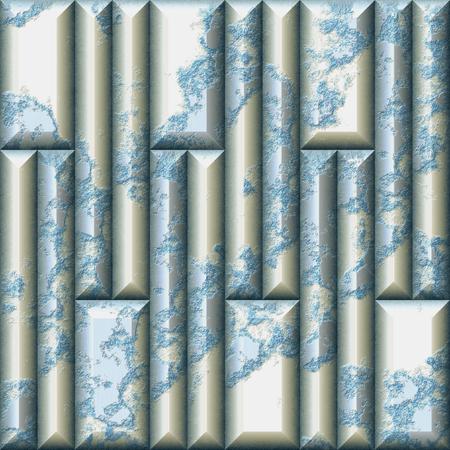 長方形のひび割れたタイルのモザイクレリーフシームレスなパターン。青、白、銀は3D背景を風化。3D レンダリング 写真素材