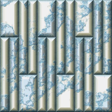 Mosaic relief seamless pattern of rectangular cracked tiles. Blue, white and silver weathered 3d background. 3d rendering
