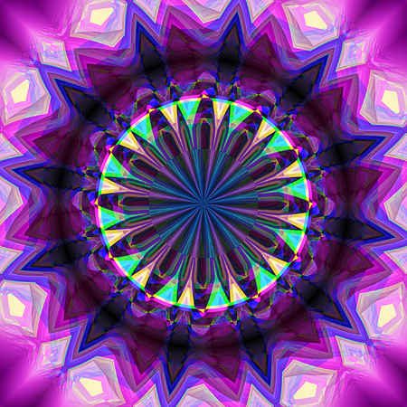 Abstract rotating background with kaleidoscopic object creating an illusion of movement. Blue, pink, purple, green and white psychedelic star-shaped object with rays. 3d rendering