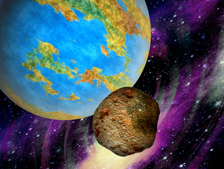 Asteroid flying to Earth. Big stone meteorite heading to Earth