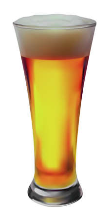 Pint wheat beer glass is drawn isolated on white background Stock Vector - 4921965