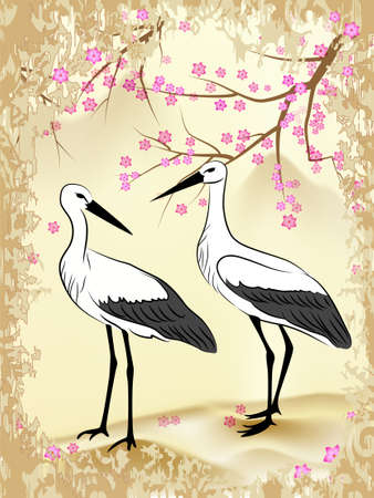 Two storks, looking at each other, against the background of branches and flowers Sakura and mountain landscape, painted in Japanese style in shades of yellow and ohristyh Vector