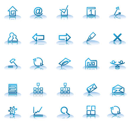 edit icon: set of blue icons for your web site isolated on a white background