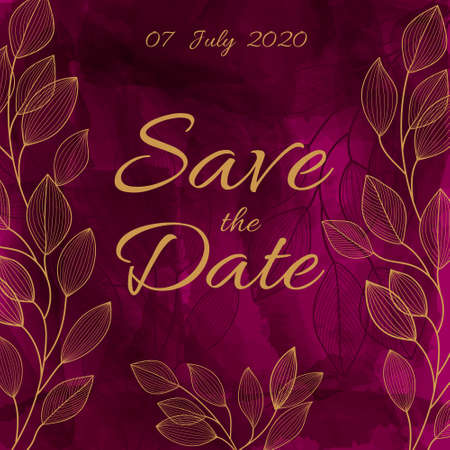 Watercolor burgundy background with golden leaves. Bright wedding invitation, celebration, save the date. Fashionable design in a contemporary style. Hand painted paints. Stock Illustratie