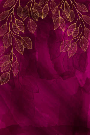 Watercolor burgundy background with golden leaves. Plants are drawn by hand in a line. Bright invitation, holiday, save the date. Fashionable design in a contemporary style. Hand painted paints.