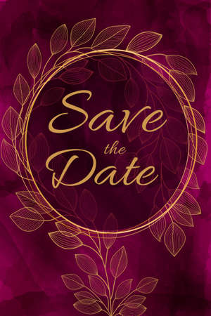 Watercolor burgundy background with golden leaves. Bright wedding invitation, celebration, save the date. Fashionable design in a contemporary style. Hand painted paints. Foto de archivo - 143296304
