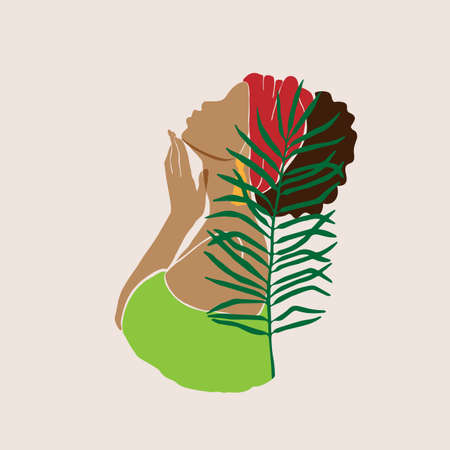 Abstract female profile portrait. Beautiful African American, Latina, white woman holds a hand near the face. Modern design for spa, beauty salons Vector illustration Ilustração