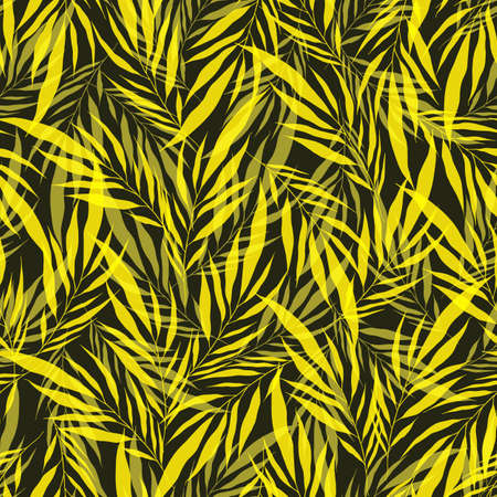 Minimalistic yellow transparent leaves palm tree on green backdrop. Vintage exotic collage tropical plants seamless pattern. Contemporary vector decoration art. Tropic chaos illustration. Vettoriali
