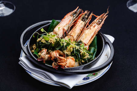 brazier: Royal prawns served with herbs and quinoa.
