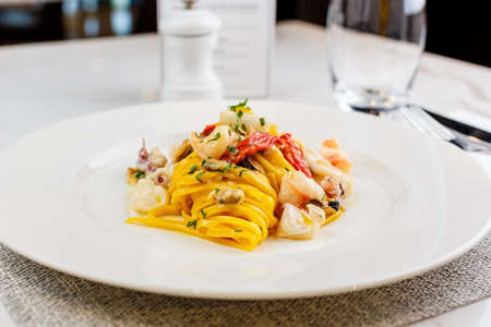 Seafood pasta Spaghetti with Seafood Cocktail Stock Photo