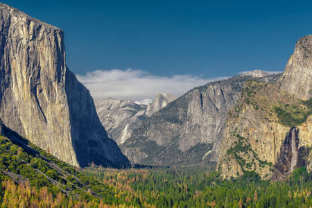 bridalveil fall: Yosemite National Park Valley from Tunnel View Stock Photo