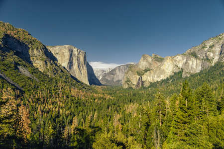 bridalveil fall: Yosemite National Park Valley from Tunnel View in the daytime Stock Photo