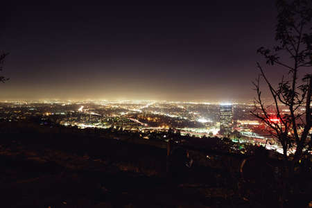 light of Los Angeles in the dark night from hils