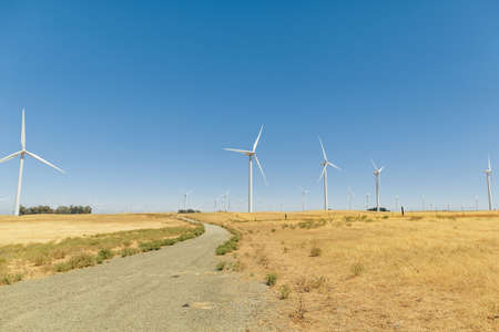 A Wind Farm with blue sky in California.