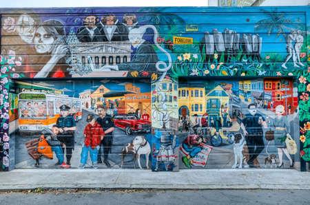 샌 프란 시스 코 -5 월 16 일 : 벽화 2016 년 5 월에 샌 프란 시스 코에서 임무 지구 동네에서 벽화 벽 또는 다른 큰 영구적 인 표면에 직접 그려진 작품의