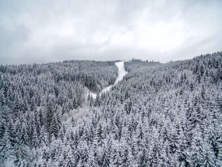Aerial view of forest in the winter during the snowfall in the area of Bucovel in Ukrain. Captured from above with a drone.