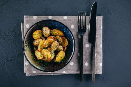 Pan fried cherry potatoes with garlic and onion Stok Fotoğraf