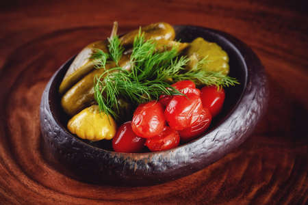 Mixed pickles platter served on the wooden table Stok Fotoğraf