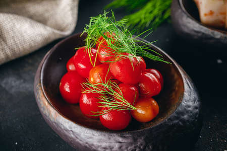 Homemade pickled tomatoes served in the dark bowl and decorated with dill Stok Fotoğraf