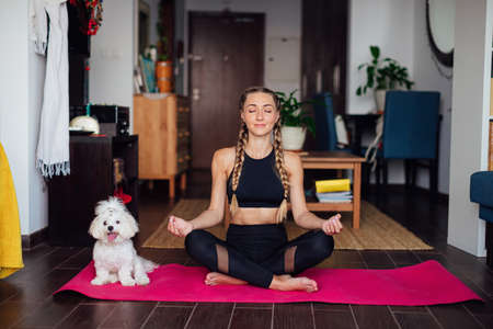 Beautiful woman doing exercise, practicing yoga, cute white puppy sits next to her owner, sporty girl wearing black sportswear working out indoors