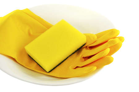 cleanser: sponge  plate and economic gloves on white background