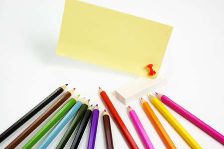 notepaper coloured pencils Stock Photo - 2630982