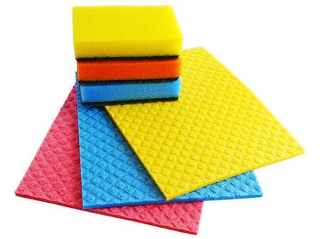 sponge and napkins on  white background Stock Photo