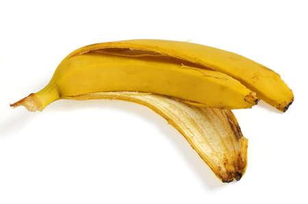 Peel of  banana on white background