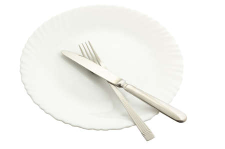 fork , spoons and plate on a white background (file contains clipping path) Stock Photo - 2706018